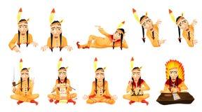 Vectorreeks Amerikaanse illustraties van Indiërs Stock Foto's