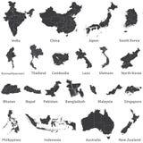 Vectorreeks Aziatische kaarten met de grenzen van het gebied, en ook kaarten van Austealia en Nieuw Zeeland Stock Afbeeldingen