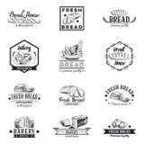 Vectorreeks bakkerij en broodemblemen, etiketten Stock Foto's