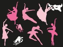 Vectorreeks balletdanserssilhouetten Royalty-vrije Stock Afbeeldingen