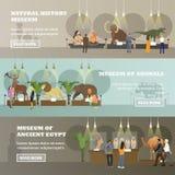 Vectorreeks banners met diverse museumexposities, vlakke stijl royalty-vrije illustratie