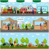Vectorreeks banners van het het festivalconcept van het straatvoedsel Mensen die in een park kamperen royalty-vrije illustratie