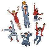 Vectorreeks bedrijfsmensenmannen en vrouwen die voor vreugde springen die winnende kop steunen Het concept van het vennootschapgr vector illustratie