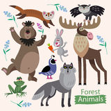 Vectorreeks beeldverhaal bosdieren Stock Afbeeldingen