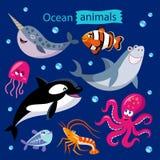 Vectorreeks beeldverhaal oceaandieren Stock Foto