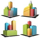 Vectorreeks beeldverhaalgebouwen Stock Foto's