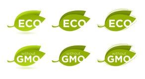 Vectorreeks bladeren met Eco-tekst Royalty-vrije Stock Foto's