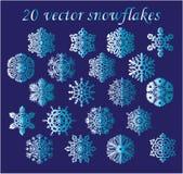 Vectorreeks blauwe sneeuwvlokken op blauwe achtergrond Stock Afbeelding