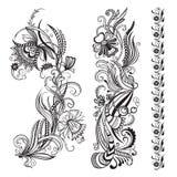 Vectorreeks bloemen kalligrafische elementen royalty-vrije stock foto's