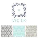 Vectorreeks bloemengrens en naadloze patronen Royalty-vrije Stock Afbeeldingen