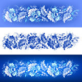 Vectorreeks bloemenornamenten met decoratieve geschilderde elementen stock fotografie