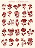 Vectorreeks bloempictogrammen Royalty-vrije Stock Foto's