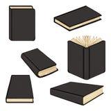 Vectorreeks Boeken van Beeldverhaal Zwarte Hardcover stock illustratie
