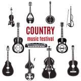 Vectorreeks country muziekinstrumenten, zwart-wit vlak ontwerp vector illustratie