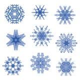 Vectorreeks creatieve sneeuwvlokken Stock Afbeeldingen