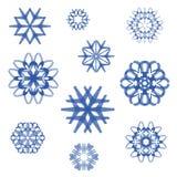Vectorreeks creatieve sneeuwvlokken Royalty-vrije Stock Afbeelding