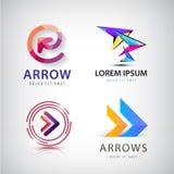 Vectorreeks 3d kleurrijke pijlemblemen, pictogrammen Stock Afbeelding