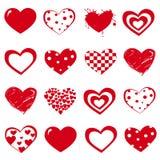 Vectorreeks de Dag rode harten van Valentine ` s op witte achtergrond Royalty-vrije Stock Foto's