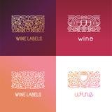 Vectorreeks de elementen en tekens van het embleemontwerp voor wijn Royalty-vrije Stock Afbeeldingen