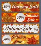 Vectorreeks de herfstbanners Vier malplaatjes voor uw ontwerp De banners van de de herfstverkoop voor Web of druk Royalty-vrije Stock Afbeelding