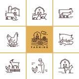 Vectorreeks de landbouw en landbouwbedrijfdieren die voor illustraties, infographics groot zijn stock illustratie