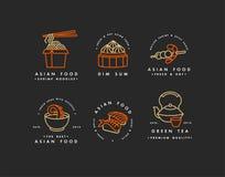 Vectorreeks de malplaatjes van het embleemontwerp en emblemen of kentekens Aziatisch voedsel - noedels, dim sum, soep, sushi Line stock illustratie