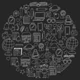 Vectorreeks de middelbare schoolpictogrammen in krabbelstijl Geschilderde, zwarte zwart-wit, krijtbeelden op een bord vector illustratie