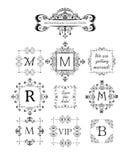 Vectorreeks decoratieve kaders voor huwelijksuitnodiging, de kaart van de verjaardagsgroet, vignet voor embleemmalplaatje, uitste Stock Foto
