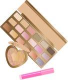 Vectorreeks decoratieve schoonheidsmiddelen voor make-up op witte achtergrond Stock Foto