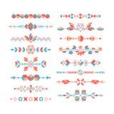 Vectorreeks decoratieve vlakke ontwerpelementen Stock Foto's