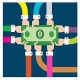 Vectorreeks die als groep zilveren dollars succesvolle samenwerking p werken royalty-vrije illustratie