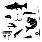 Vectorreeks die en het hengelen symbolensilhouetten vissen Royalty-vrije Stock Fotografie