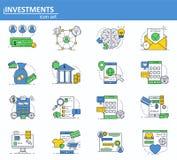 Vectorreeks digitale van de van de gelddiensten, financiën en bank pictogrammen in dunne lijnstijl Investering en onlne betalinge royalty-vrije illustratie