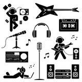 Vectorreeks diverse gestileerde pictogrammen van DJ De reeks van het pictogrampictogram Stock Foto's