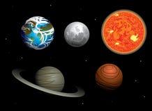 Vectorreeks diverse planeten in het Zonnestelsel Royalty-vrije Stock Afbeelding