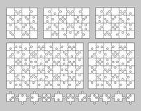 Vectorreeks diverse raadsels en figuurzaagstukken 16, 20, 24, 36 en 60 stukken Vector illustratie Stock Afbeeldingen