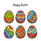 Vectorreeks eieren van de beeldverhaalkleur voor Pasen Stock Foto