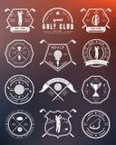 Vectorreeks emblemen en pictogrammengolfclubs vector illustratie