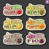 Vectorreeks etiketten van het fruitroomijs Royalty-vrije Stock Afbeelding