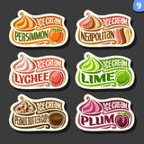 Vectorreeks etiketten van het fruitroomijs Stock Fotografie