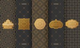 Vectorreeks etiketten van ontwerpelementen, pictogram, embleem, kader, luxe verpakking voor het product royalty-vrije illustratie