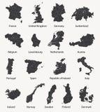 Vectorreeks Europese kaarten met de grenzen van het gebied Stock Fotografie