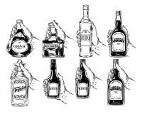 Vectorreeks flessen voor alcohol royalty-vrije illustratie