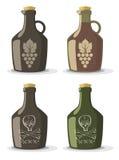Vectorreeks flessen voor wijn of rum Royalty-vrije Stock Afbeeldingen