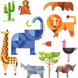 Vectorreeks Geïsoleerde Beeldverhaal Verschillende Dieren vector illustratie