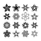 Vectorreeks geïsoleerde grafische bloemen Stock Foto's