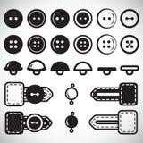 Vectorreeks geïsoleerde pictogrammen van knopen in vlakke stijl in volledig FA Royalty-vrije Stock Foto's