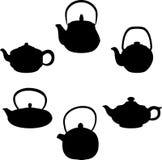 Vectorreeks geïsoleerde theepotten van het pictogramsilhouet royalty-vrije illustratie