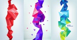 Vectorreeks gefacetteerde 3d kristal kleurrijke vormen, banners Royalty-vrije Stock Foto's