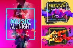 Vectorreeks gefacetteerde moderne glanzende affiches, brochures, kaarten, vliegers Partij, muziekfestival Royalty-vrije Stock Foto